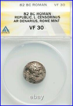 Roman Republic Marcus Censorinus Denarius ANACS VF Ancient Silver Coin