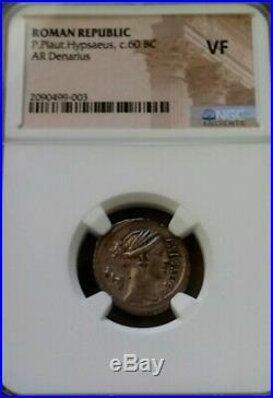 Roman Republic P. Plat Hypsaeus 60BC Denarius NGC VF Ancient Silver Coin