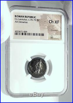 Roman Republic POMPEY the GREAT TROOPS in SPAIN Ancient Silver Coin NGC i78637