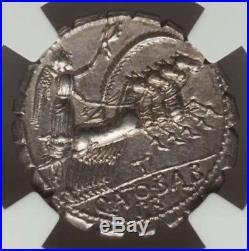 Roman Republic Q. Antonius Balbus NGC Ch XF 5/4 Ancient Denarius Serratus Coin