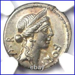 Roman Republic Q. Sicinius AR Denarius Coin 49 BC Certified NGC AU