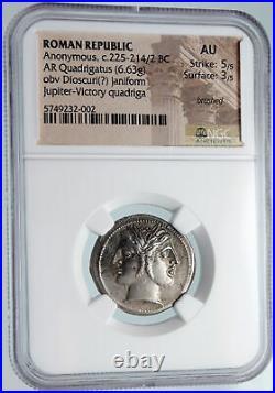 Roman Republic QUADRIGATUS Didrachm Authentic Ancient Coin JANUS NGC AU i89615