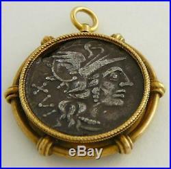 Roman Republic Roma Jupiter Chariot Ancient Silver Coin 18k Gold Bezel