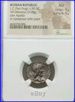 Roman Rpeublic LC Piso Frugi NGC AU 5/5 Denarius NGC Ancient Silver Coin