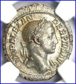 Roman Severus Alexander AR Denarius Coin 222-235 AD NGC MS (UNC) 5/5 Surface