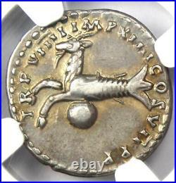 Roman Titus AR Denarius Coin 79-81 AD NGC Choice VF 5/5 Strike and Surface