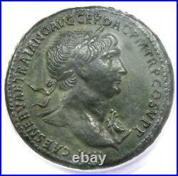Roman Trajan AE Sestertius Copper Coin 107-110 AD Certified ANACS VF35