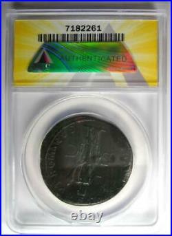 Roman Trajan AE Sestertius Copper Coin 115-116 AD Certified ANACS VF35