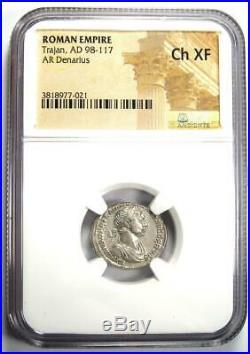 Roman Trajan AR Denarius Silver Coin 98-117 AD Certified NGC Choice XF (EF)