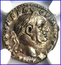 Roman Vespasian AR Denarius Silver Coin 69-79 AD Certified NGC AU Condition