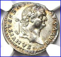 Roman Vespasian AR Denarius Silver Coin 69-79 AD Certified NGC Choice AU
