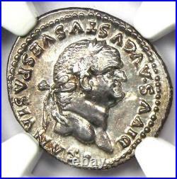 Roman Vespasian AR Denarius Silver Coin 69-79 AD NGC Choice AU 5 Strike