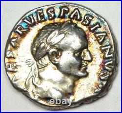 Roman Vespasian AR Denarius Silver Coin 70 AD Good VF / XF with Rainbow Tone