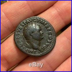 SCARCE Ancient Roman Coin AE As TITUS 80AD VICTORIA AVGVSTI 10.4g