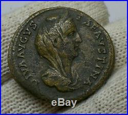 SCARCE Ancient Roman Imperial Diva Faustina Bronze Sestertius Coin 141 AD