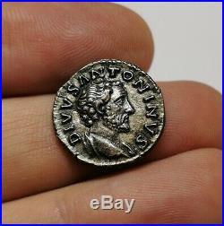 SCARCE Ancient Roman Imperial Divus Antoninus Pius 161AD Silver Denarius Coin XF