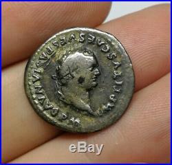 SCARCE Ancient Roman Imperial Titus 80 AD Silver Denar Coin DOLPHIN & ANCHOR