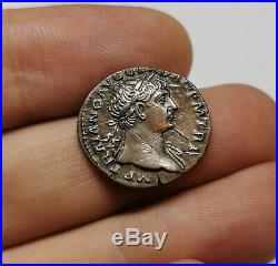 SCARCE Ancient Roman Imperial Trajan 98-117 AD Silver Denarius Coin XF