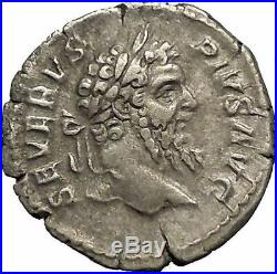 SEPTIMIUS SEVERUS 207AD AFRICA Elephant Lion Ancient Silver Roman Coin i52147