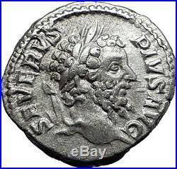 SEPTIMIUS SEVERUS 209AD Silver Ancient Roman Coin Neptune Rare i58002
