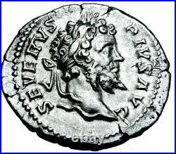 Septimius Severus Superb Denarius Trophy with 2 Captives Ancient Roman Silver Coin