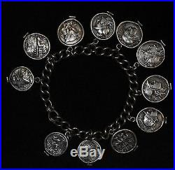Silver 19-19.5mm Ancient Roman Denarii Denarius Bracelet 11 Coins Custom Made