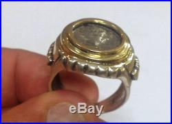 Silver and 14K gold ring set with Ancient Roman/ Alexander the great coin
