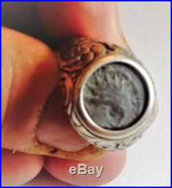 Silver ring set with Ancient Roman coin from Jerusalem