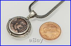 Sterling Silver Neckless with a Genuine Ancient Roman Bronze Coin. WithCert -007