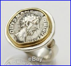 Sterling Silver Ring 14K Gold Bezel, Ancient Silver Roman Coin. M. Aurelius-020