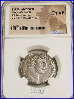 Syria, Antioch NERO Tetradrachm NGC Choice VF Ancient Silver Coin Roman