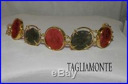 TAGLIAMONTE(1131)YGP9253 Ancient Roman Coin & 3 Venetian Cameo Bracelet+Pearl