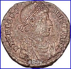 THEODOSIUS I the Great w labarum Big Ancient Roman Coin Chi-rho CHRIST i42379