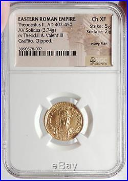 THEODOSIUS II & VALENTINIAN III 426AD Gold Solidus Ancient Roman Coin NGC i66650
