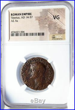 TIBERIUS Authentic Ancient 22AD JESUS CHRIST BIBLICAL TIME Roman Coin NGC i82595