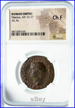 TIBERIUS Authentic Ancient 22AD JESUS CHRIST BIBLICAL TIME Roman Coin NGC i83577