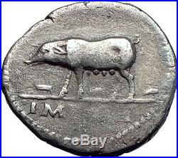 TITUS 77AD Rome Authentic Ancient Silver Roman Coin MOM Pig Sow & Piglets i63378