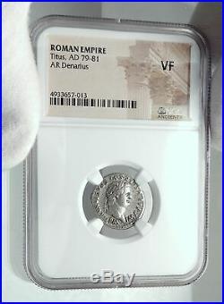 TITUS Authentic Ancient 80AD Original Roman Denarius Coin DOLPHIN NGC i78530