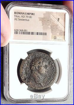TITUS Genuine 80AD Rome Sestertius Spes Authentic Ancient Roman Coin NGC i66862