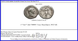 TRAJAN 100AD Authentic Ancient Silver Roman Coin Victory Nike Rare i57331