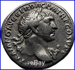 TRAJAN 103AD Rome Authentic Original Ancient Silver Roman Coin PAX Peace i58549