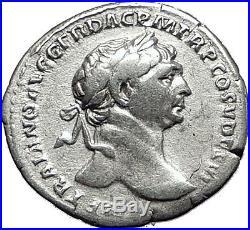 TRAJAN 111AD Rome Authentic Ancient Silver Roman Coin Pietas Loyalty i58558