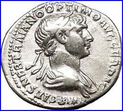 TRAJAN 114AD Authentic Ancient Silver Roman Coin Virtus with parazonium i53338