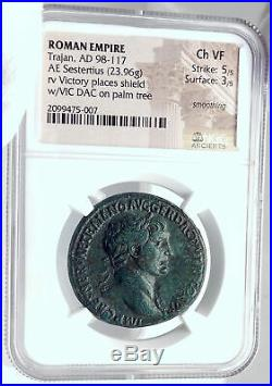 TRAJAN Authentic Ancient 106AD Sestertius Roman Coin DACIA VICTORY NGC i81774