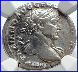TRAJAN Authentic Ancient 110AD Silver Roman Coin DACIA CAPTA CAPTIVE NGC i81797