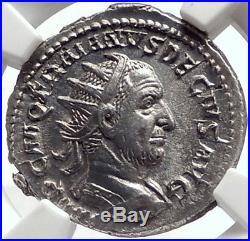 TRAJAN DECIUS 249AD Authentic Ancient Silver Roman Coin DACIA DRACO NGC i69077