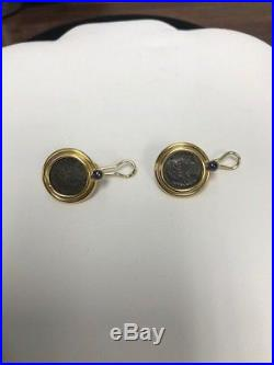 Temple St. Clair 22k Ancient Roman Coin Earrings With Sapphire