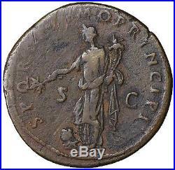 Trajan Bronze Dupondius old ancient roman coin Rome Empire Imperial Trajanus