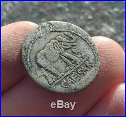 UNRESEARCHED ANCIENT ROMAN AR DENARIUS COIN Julius Caesar / Elephant