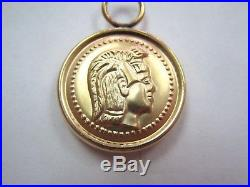 Unique 14k Yellow Gold Coin Earring Charms Ancient Roman / Greek Warrior head